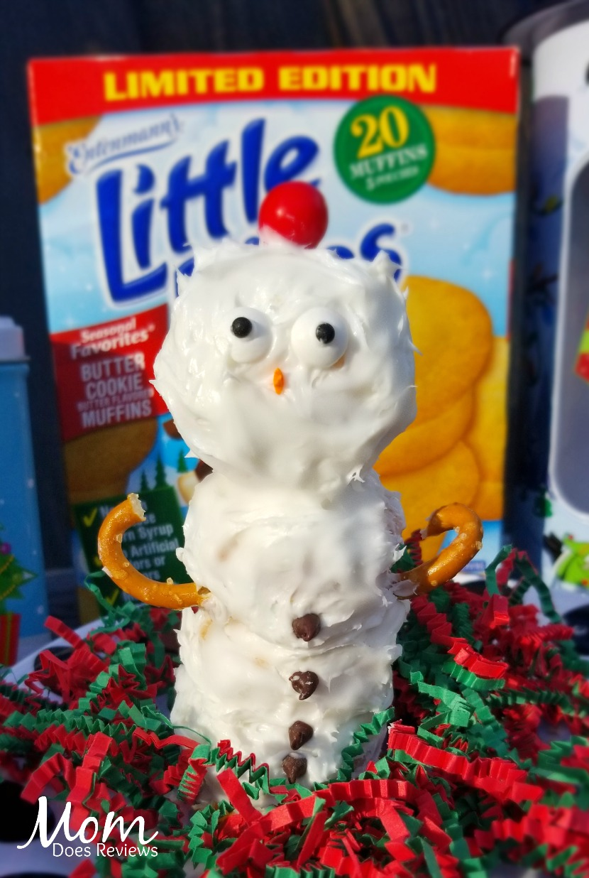 Snowmen made with Little Bites® Butter Cookie Muffins