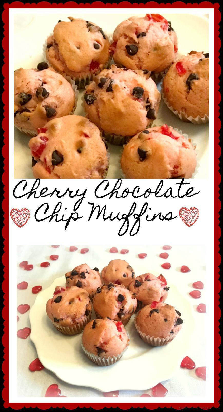 Cherry Chocolate Chip Muffins #ValentinesSweets