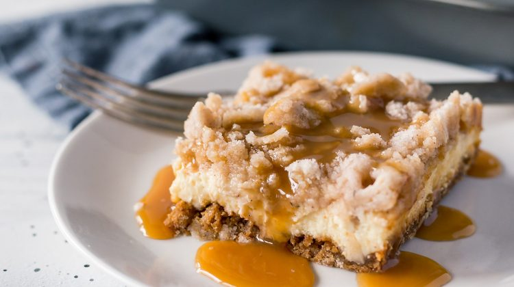 Day 11 of our 14 Days of #ValentinesSweets – Salted Caramel Apple Cheesecake Bars
