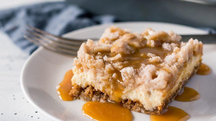 Salted caramel apple cheesecake bars