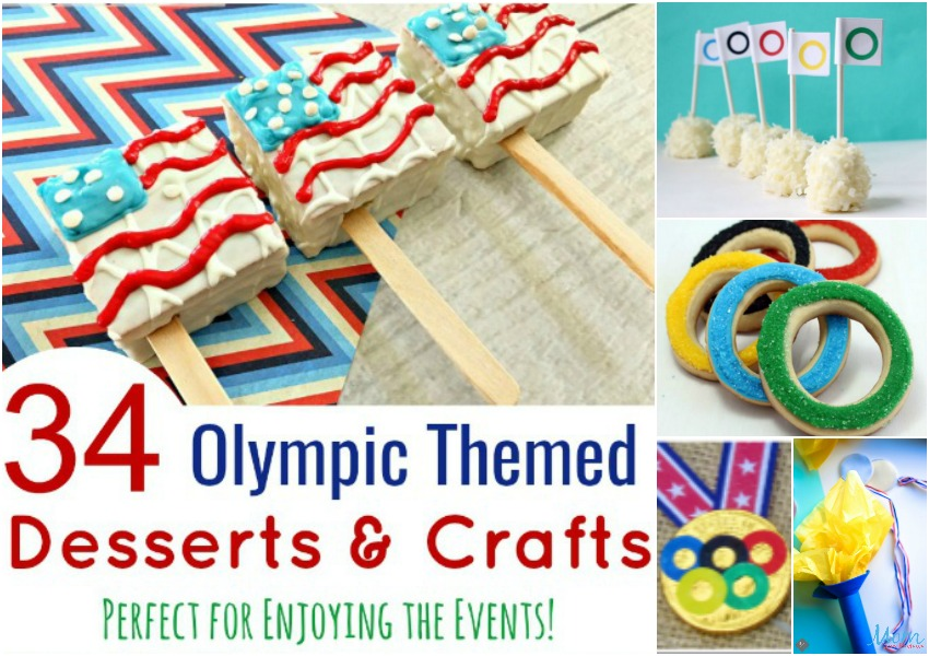 34 Olympic Themed Desserts and Crafts horizontal banner