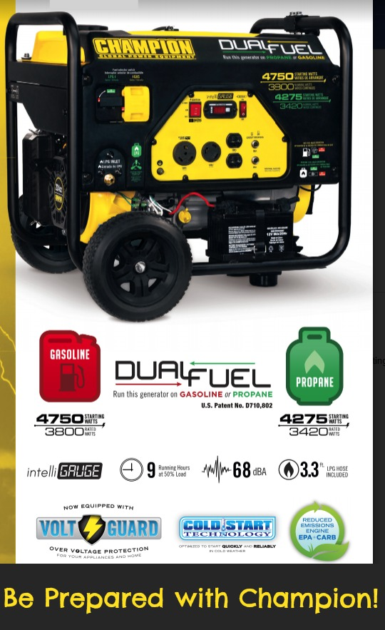 Be prepared with Champion's Dual Fuel Generator