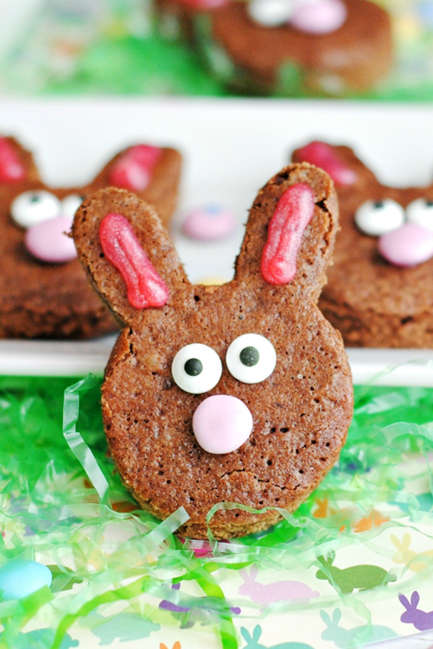 Homemade Brownie Easter Bunnies
