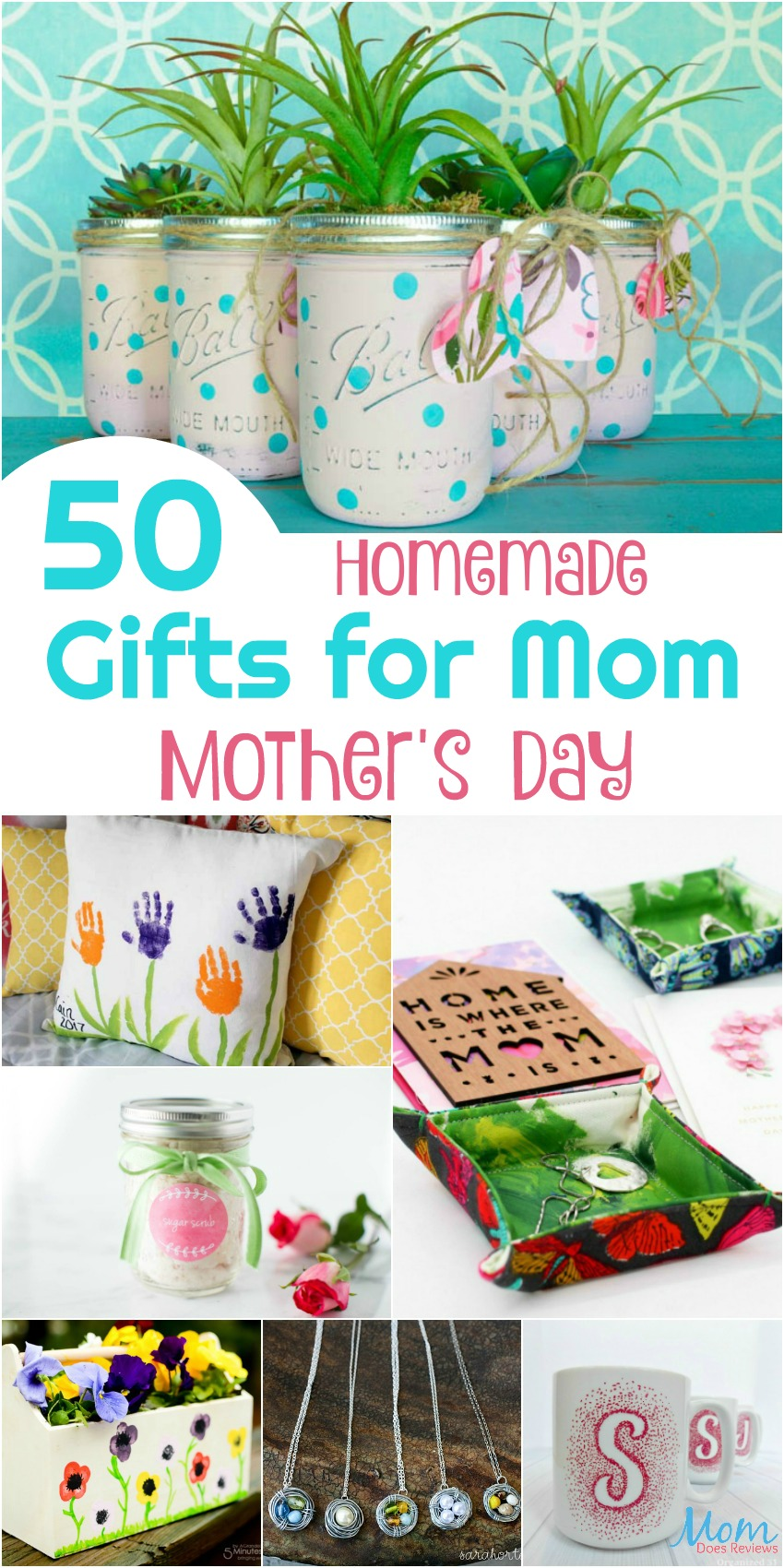 50 Homemade Gifts for Mom on Mother's Day vertical banner