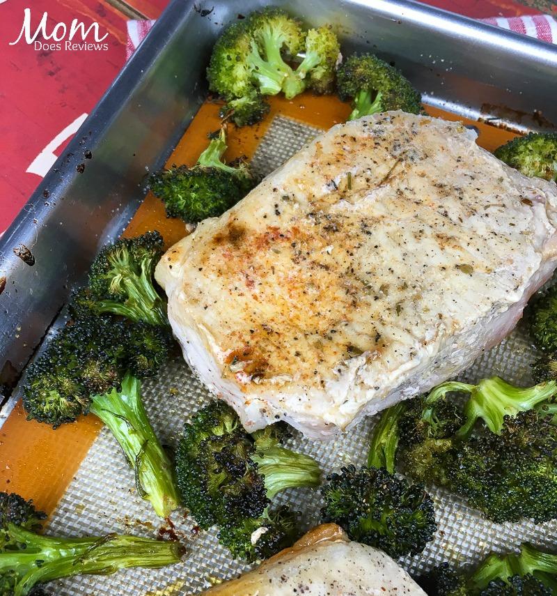 Thick-Cut Boneless Pork Chops with Garlic Broccoli