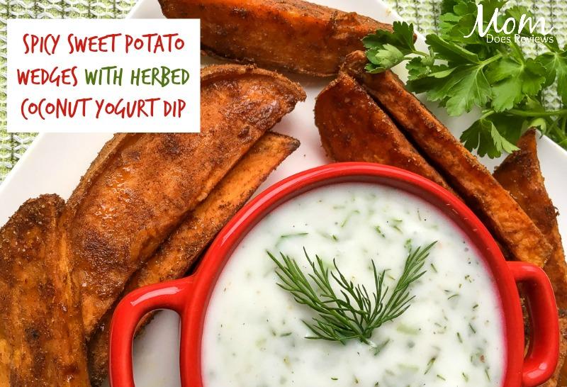 Spicy Sweet Potato Wedges  with Herbed Coconut Yogurt Dip