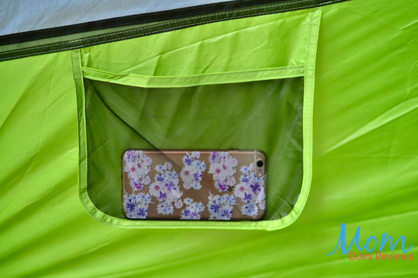 storage pocket in tent