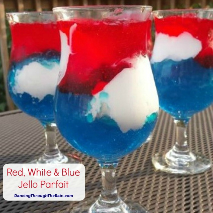 Red White and Blue Jello Parfait