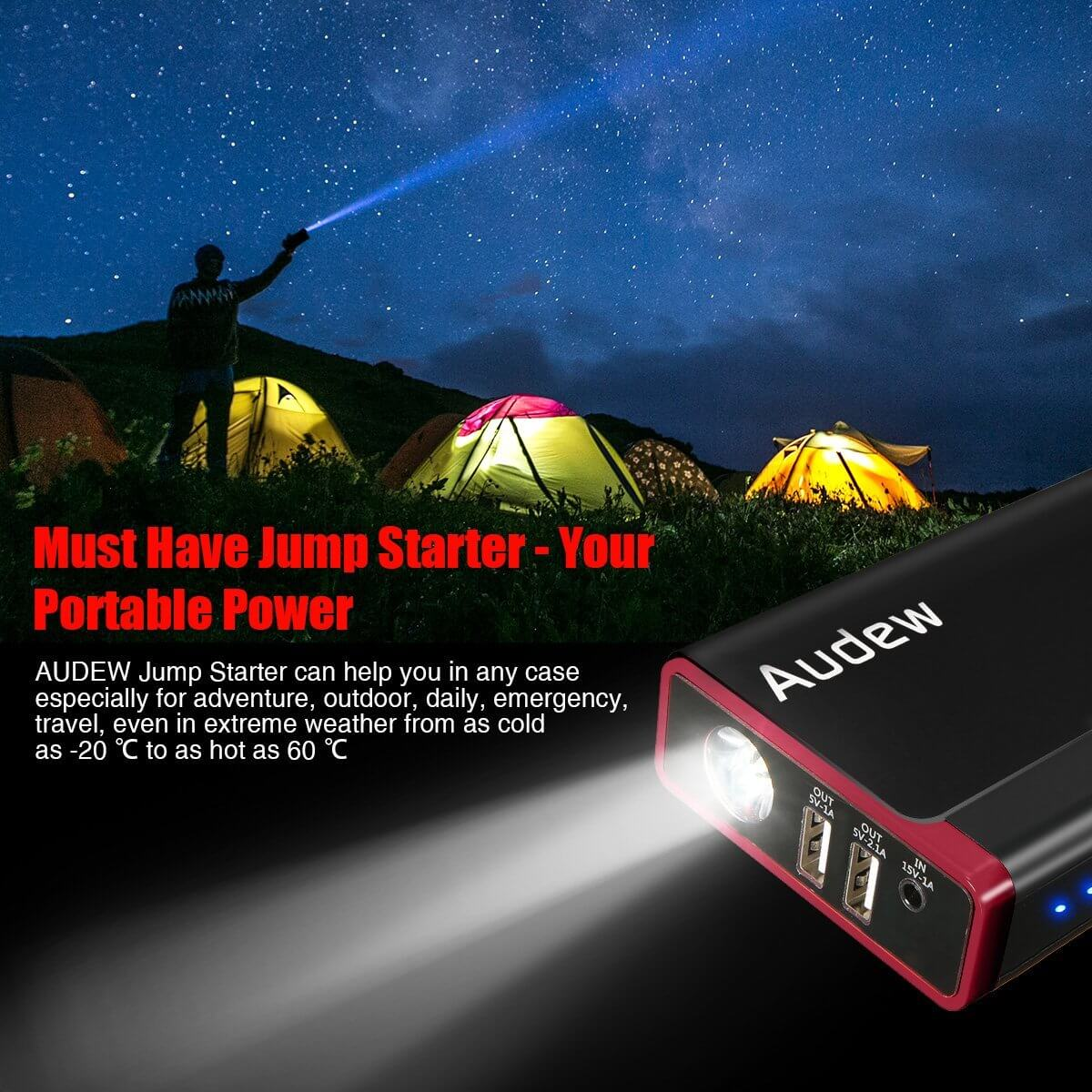 Audew 13800mAh Battery Booster 500A Portable Car Jump Starter