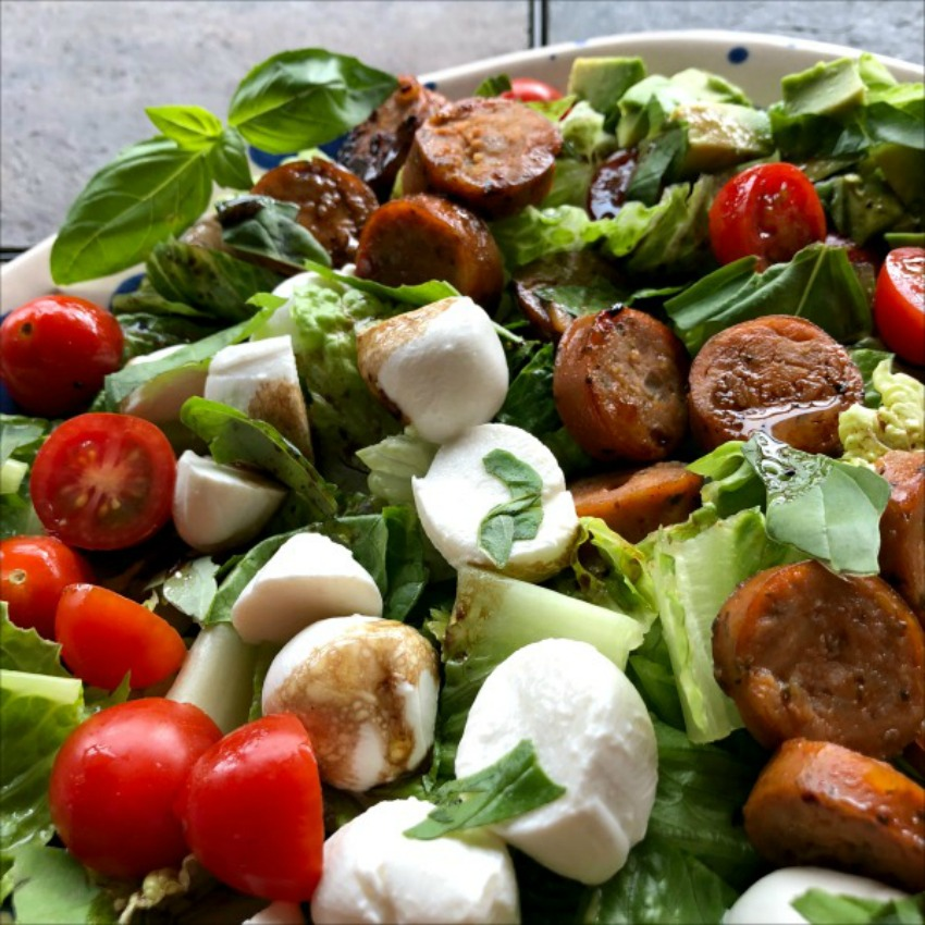 30 Minute Chopped Tomato Mozzarella Salad with Chicken Sausage & Avocado