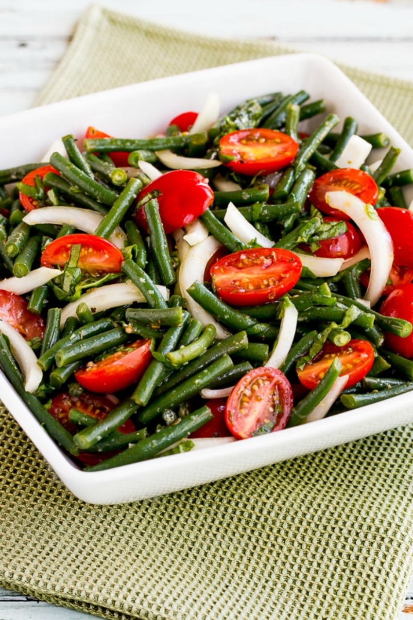 Green Bean, Tomato, Onion, and Basil Summer Salad