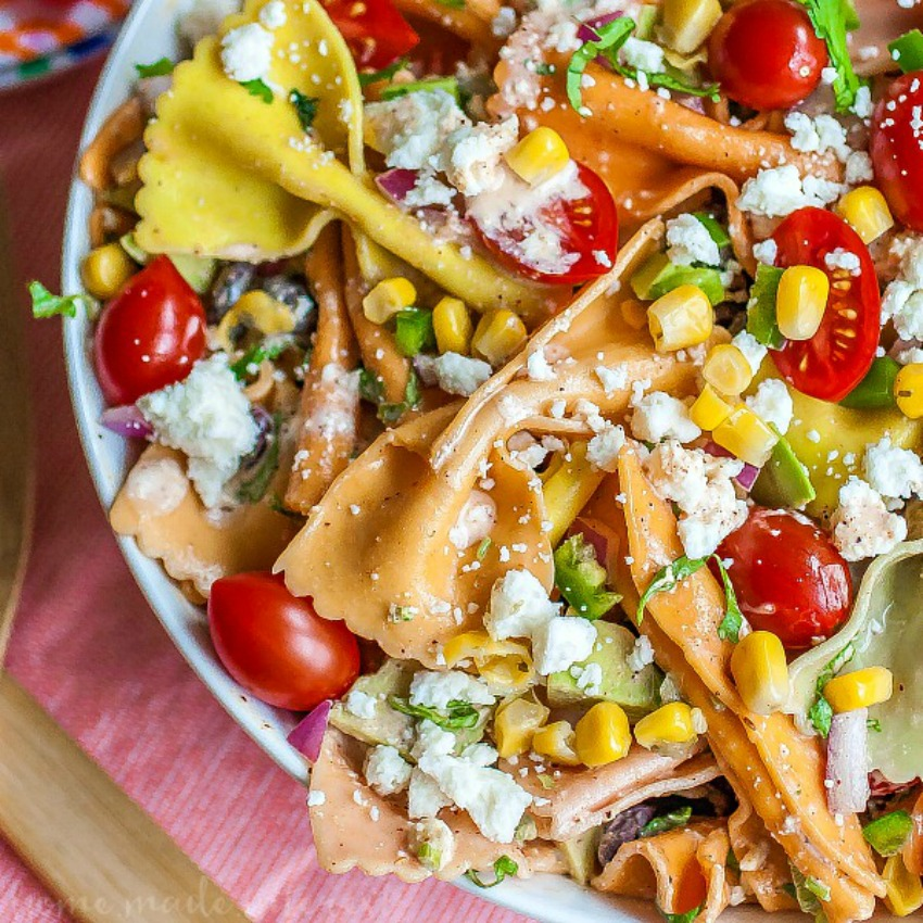 Mexican Pasta Salad with Creamy Chipotle Lime