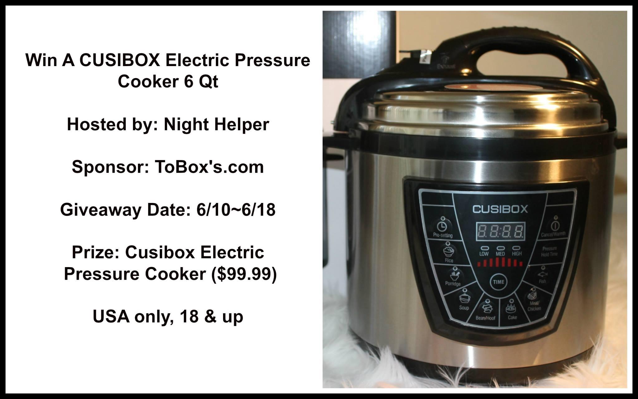 CUSIBOX Electric Pressure Cooker 6 Qt.(Value $99.99)