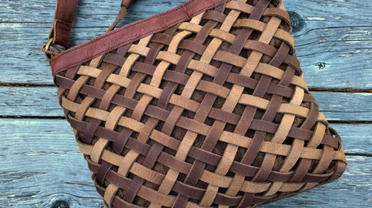 Aaralyn Crossbody Basket-Woven Leather Bag
