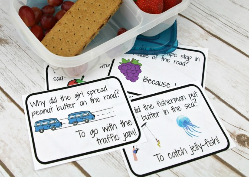Free Printable Lunchbox Notes – Peanut Butter & Jelly Jokes for Kids