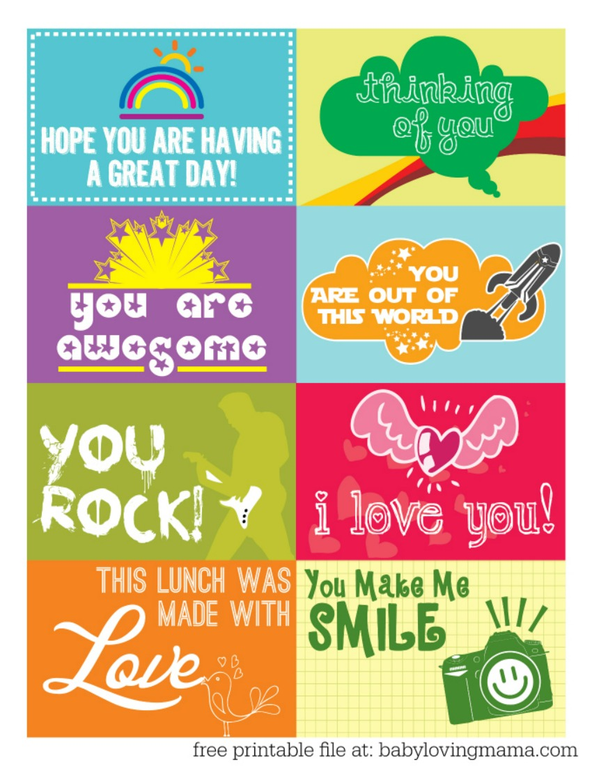 Free Printable - Lunchbox Notes for Back to School