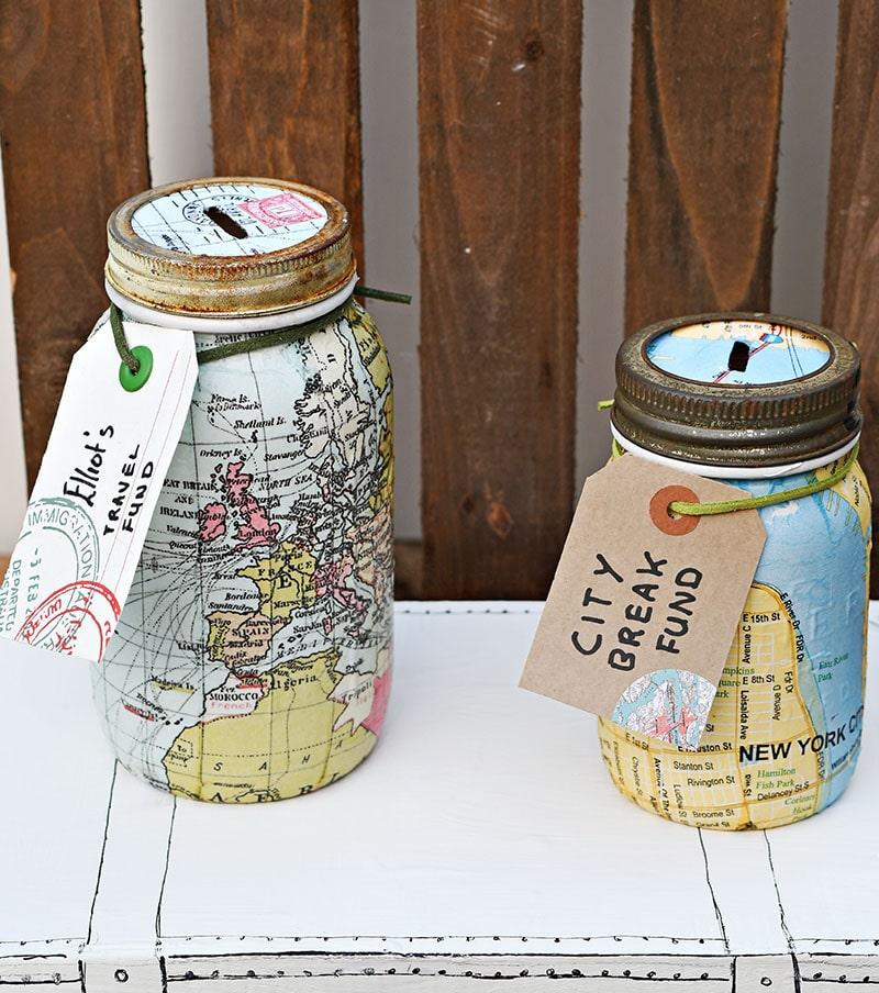 Travel Themed Mason Jar Bank
