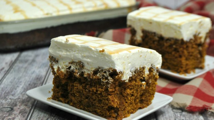 pumpkin caramel cream cheese poke cake