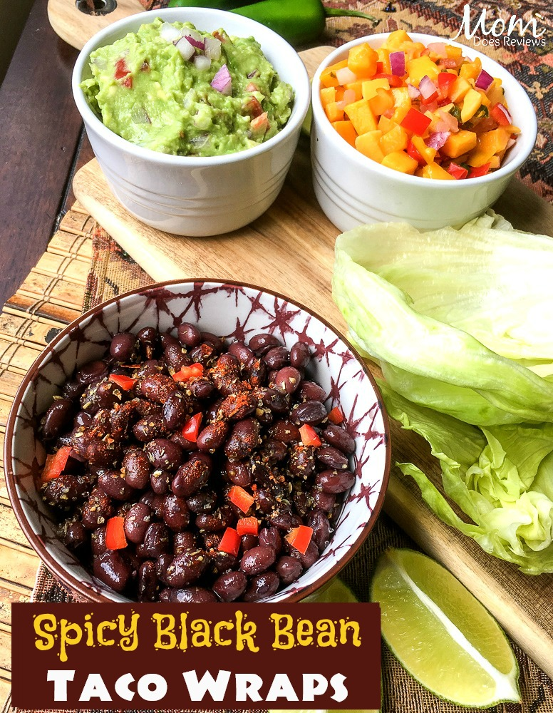 Spicy Black Bean Taco Wraps with Fresh Guacamole #Vegetarian #recipe #food