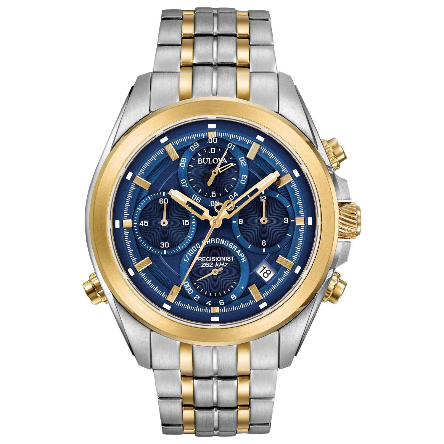 Bulova Men's Chronograph Two Tone Steel Watch - Precisionist Blue Dial