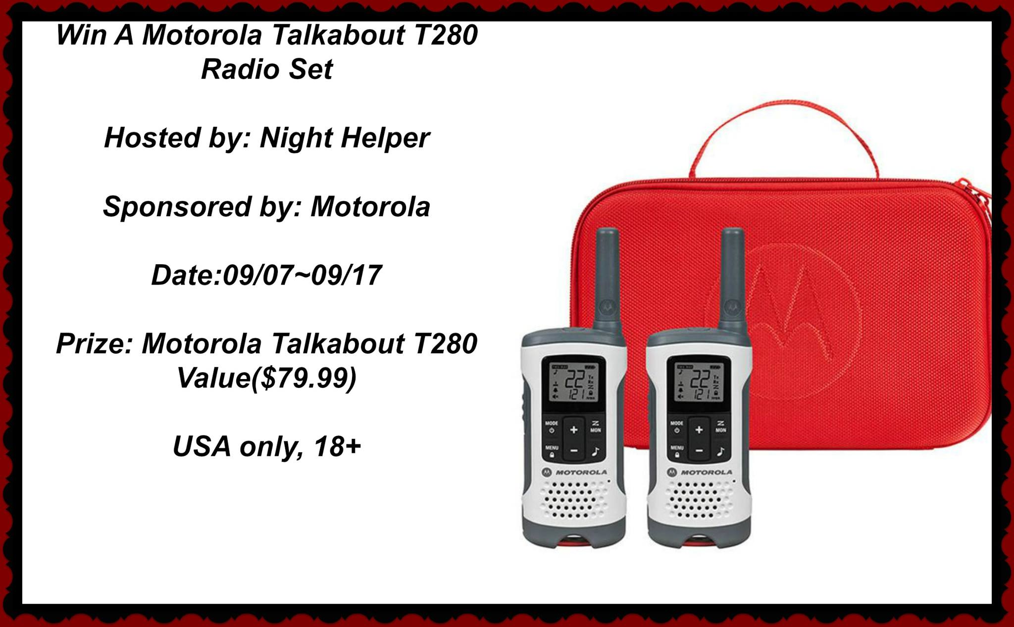 Win a Motorola Talkabout T280 Radio Set #EmergencyPreparednessMonth