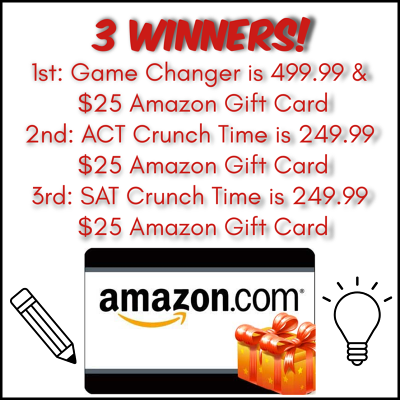 3 #Winners= $25 Amazon GC and ACT or SAT study packages! US ends 11/7 -