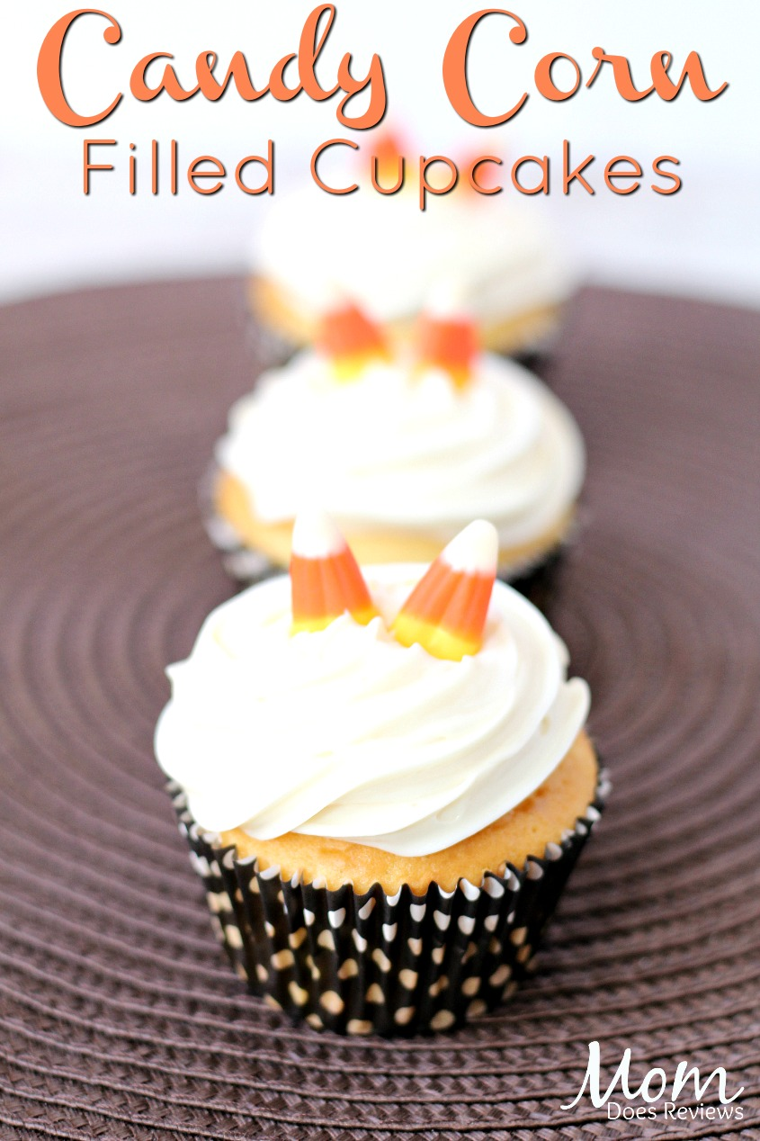 Candy Corn Filled Cupcakes #cupcakes #desserts #sweets #halloween