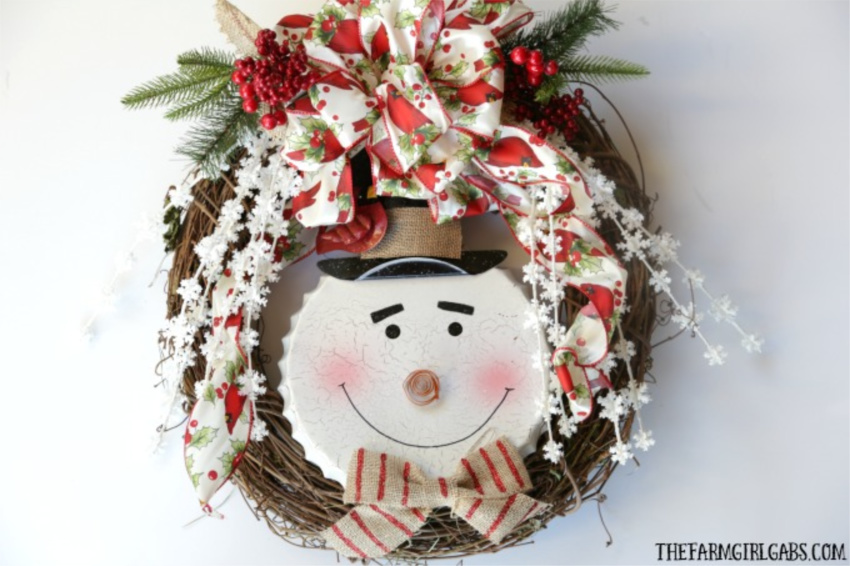 Jolly Snowman Christmas Wreath