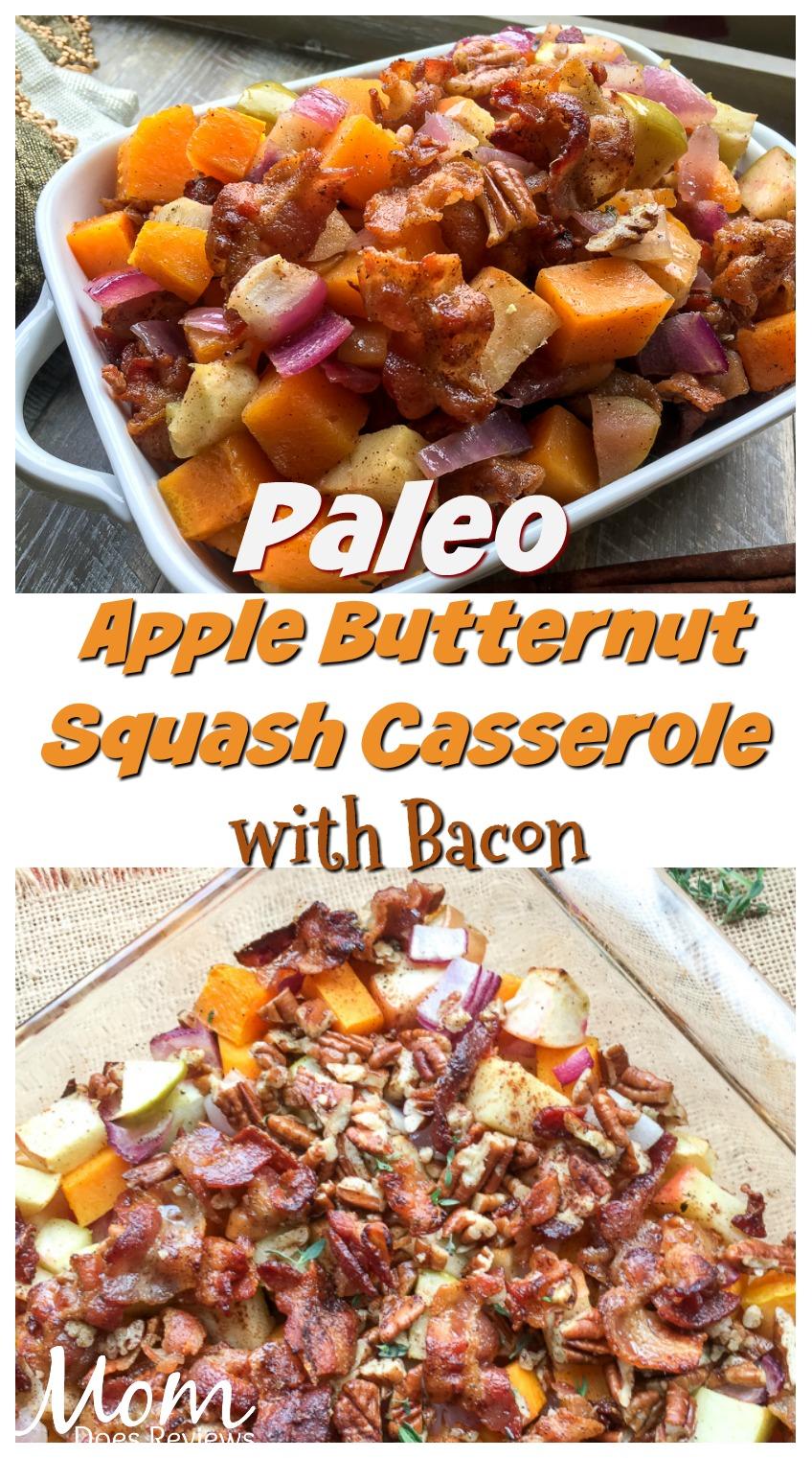 Paleo Apple Butternut Squash Casserole with Bacon-Pecan Topping #paleo #food #recipe #butternut #bacon #casserole