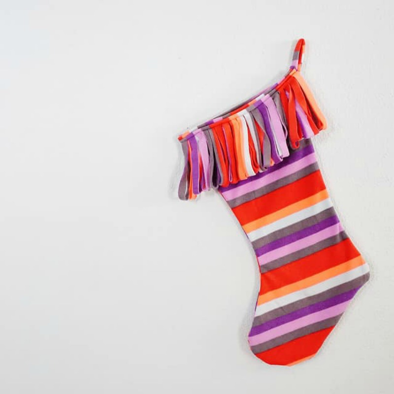 Upcycled DIY Christmas Stocking from Fleece Pants