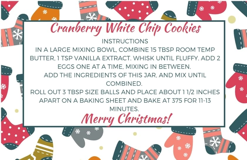 Cranberry White Chip Cookies Mason Jar Gift