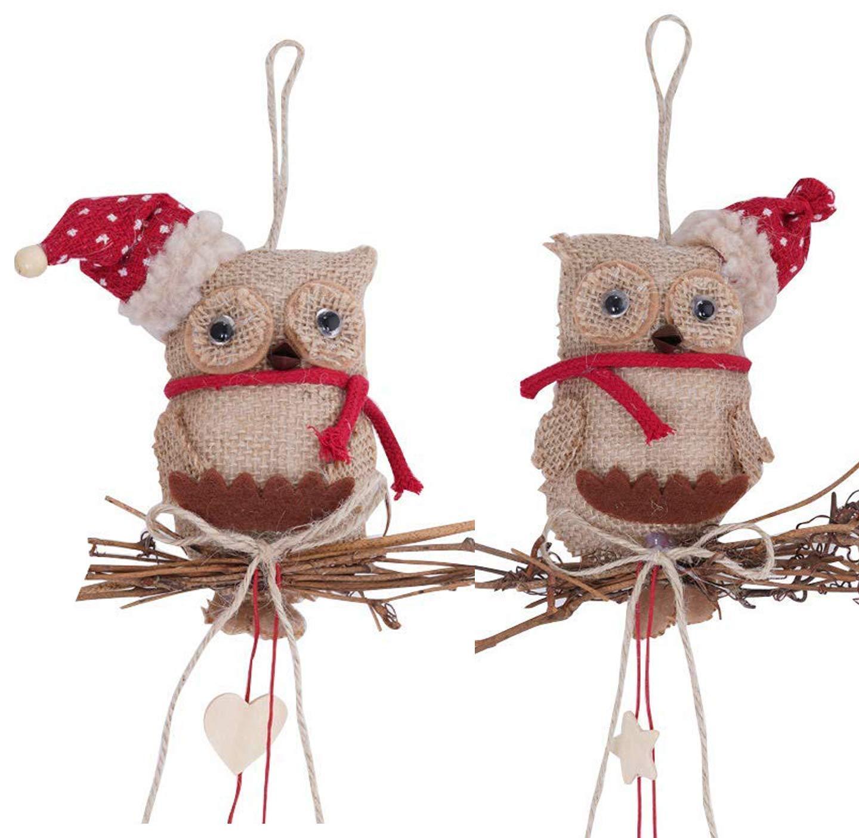 Pairs Rustic Burlap Hanging owl Ornaments