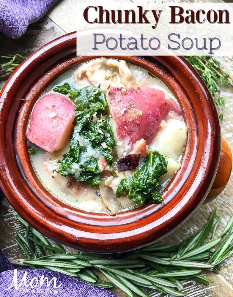 Chunky Bacon Potato Soup #recipe #soup #bacon #food #foodie