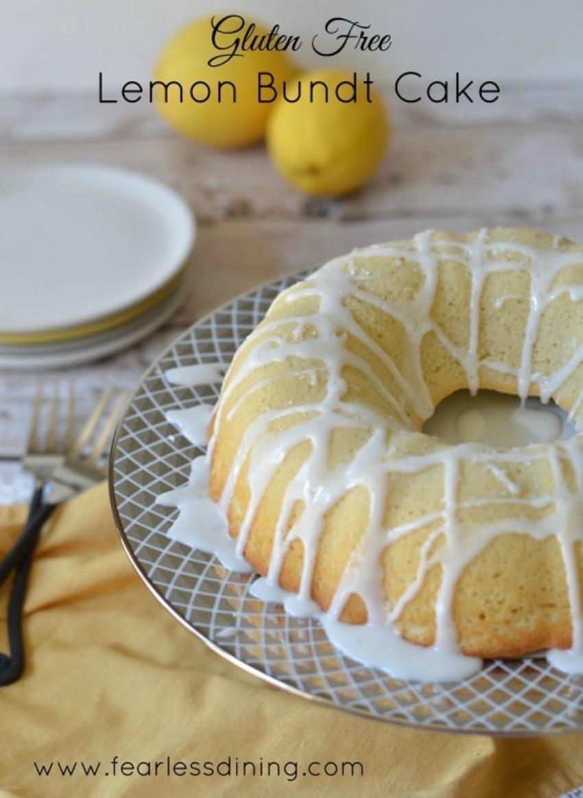 Homemade Gluten Free Lemon Bundt Cake with Lemon Icing