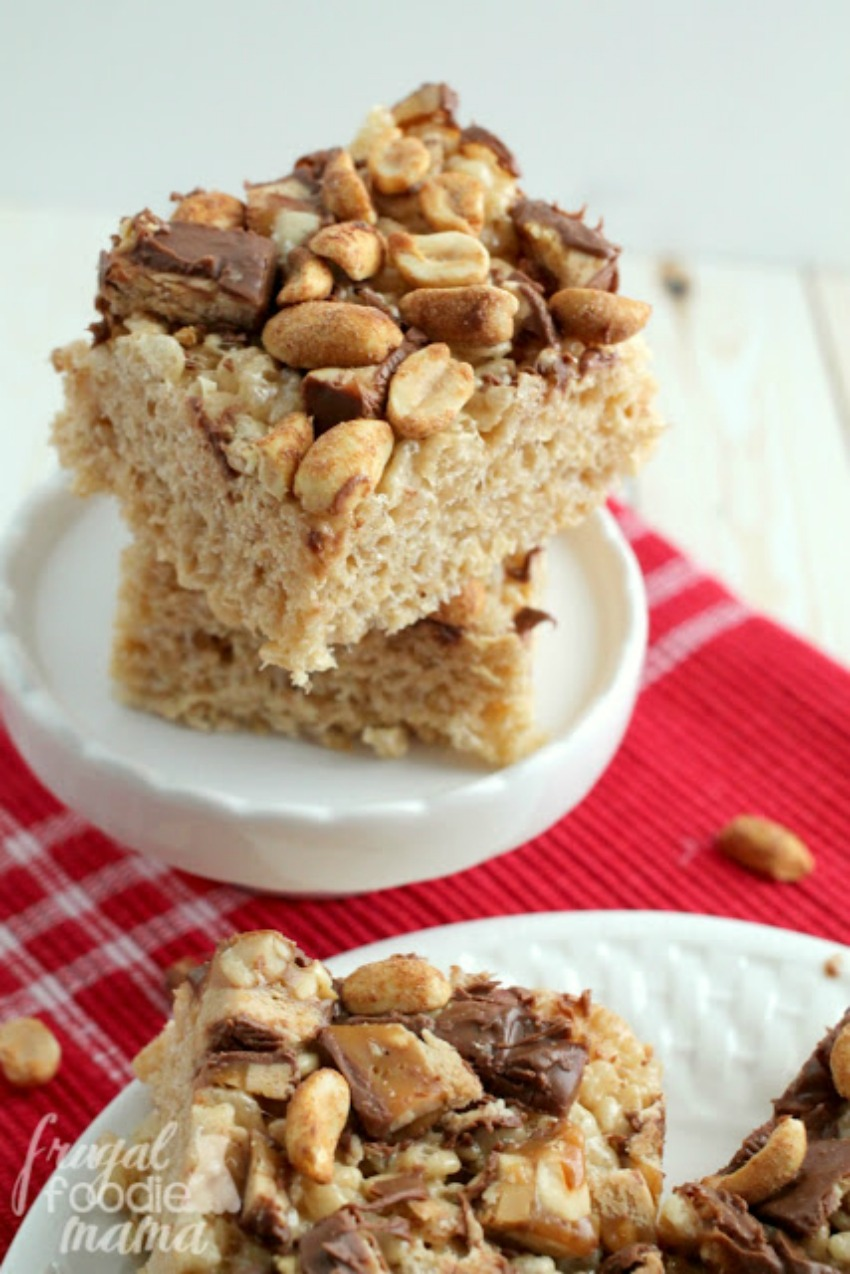 Snickers Peanut Butter Rice Krispies Treats