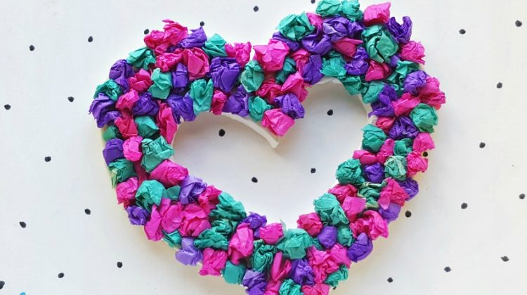 Tissue Paper Heart Wreath #Craft