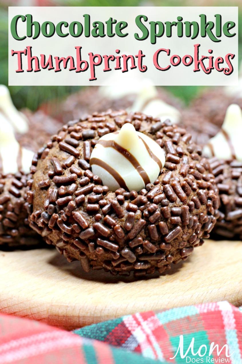 Chocolate Sprinkle Thumbprint Cookies #12ChristmasCookieRecipes  #12DaysofChristmasCookies #Cookies #desserts #chocolate