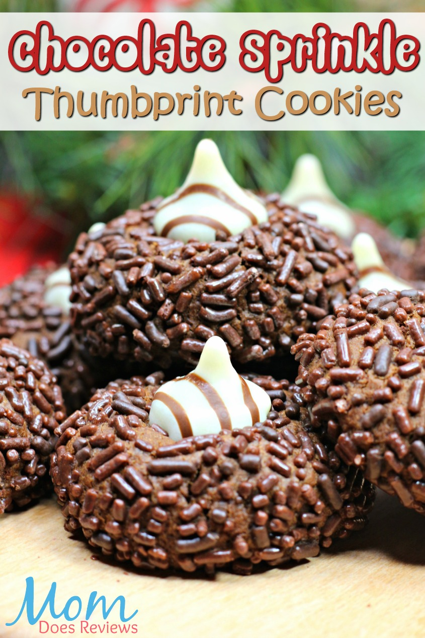 Chocolate Sprinkle Thumbprint Cookies #12ChristmasCookieRecipes #12DaysofChristmasCookies