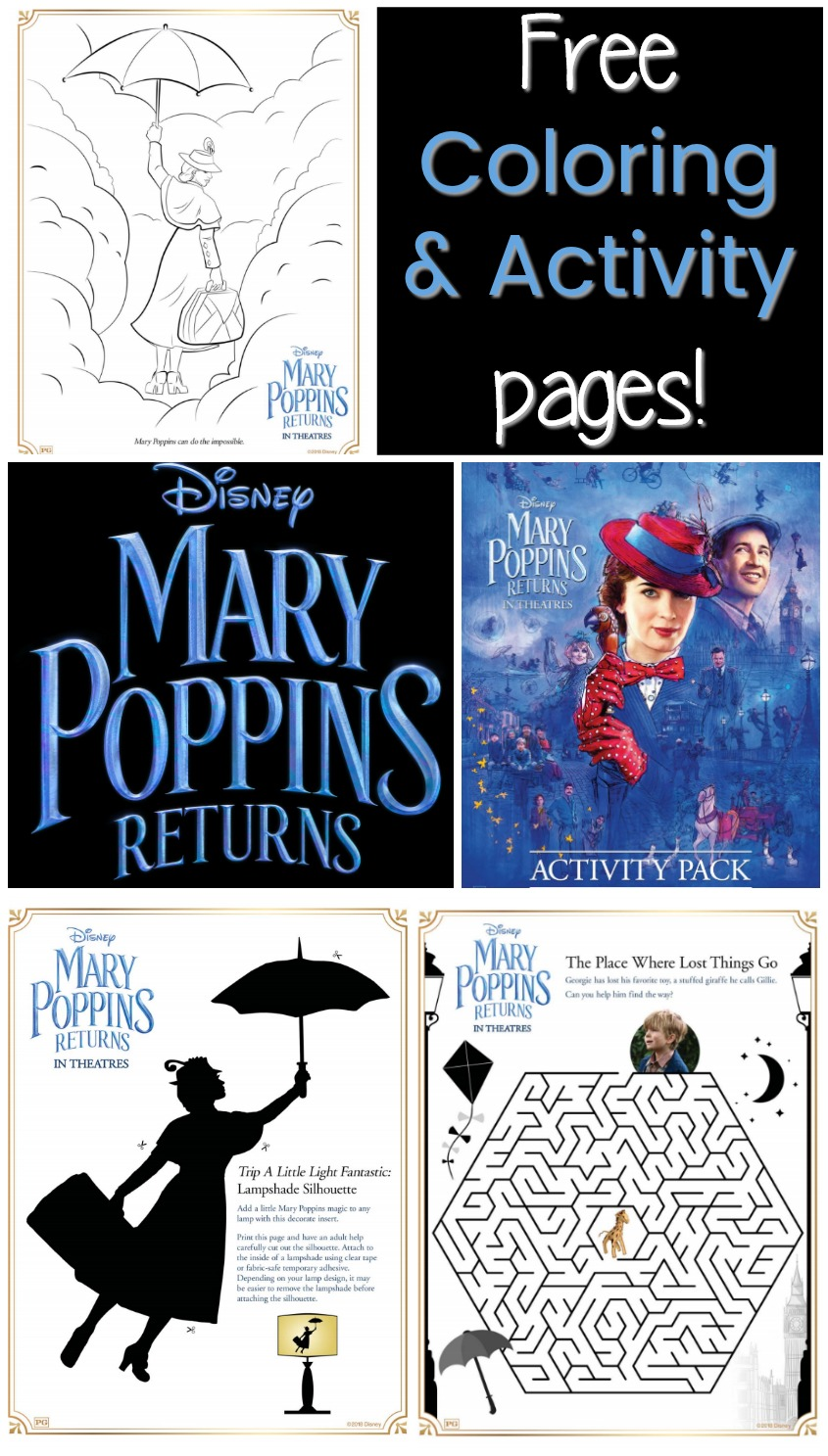 MARY POPPINS RETURNS in theaters NOW- FREE Coloring Pages too! #printables #MaryPoppinsReturns #disney
