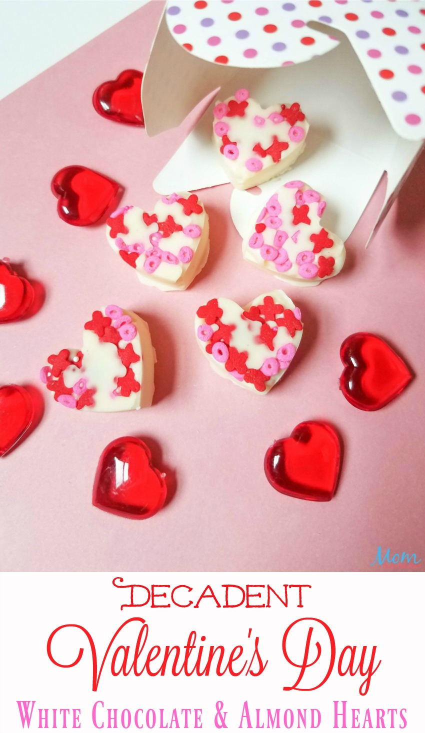 Decadent Valentine's Day White Chocolate Almond Hearts #sweet2019 #sweets #hearts #candy #recipe #valentinesday