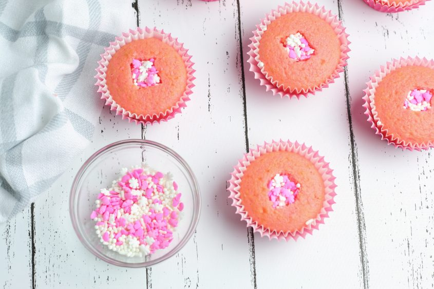 Strawberry Sprinkle Filled Cupcakes