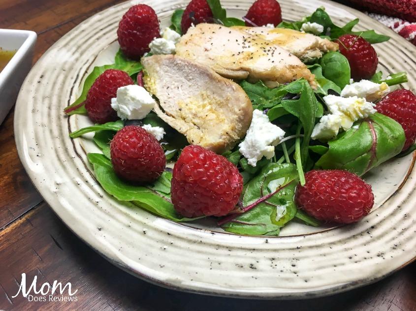Easy Raspberry Chicken Mixed Green Salad
