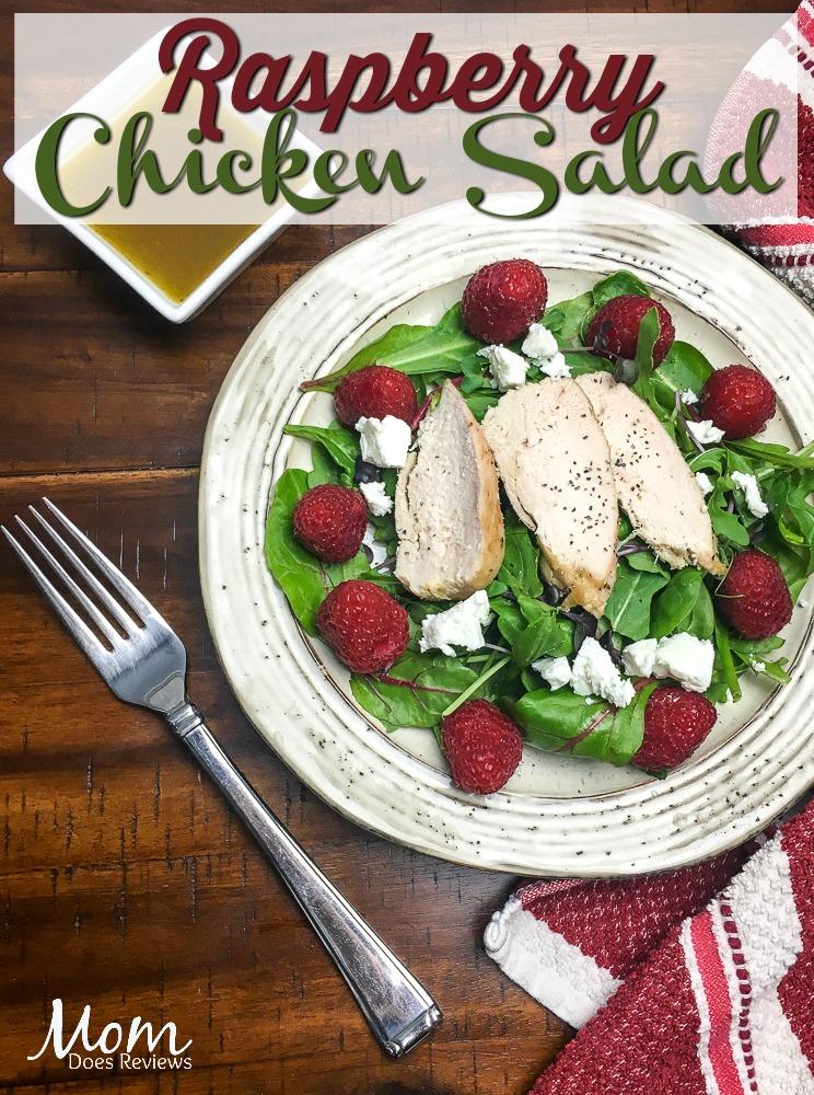 Easy Raspberry Chicken Mixed Green Salad #recipe #paleo #chicken #salad #raspberry