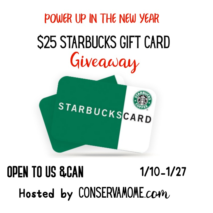 Power up in the New YEar $25 Starbucks GC Giveaway
