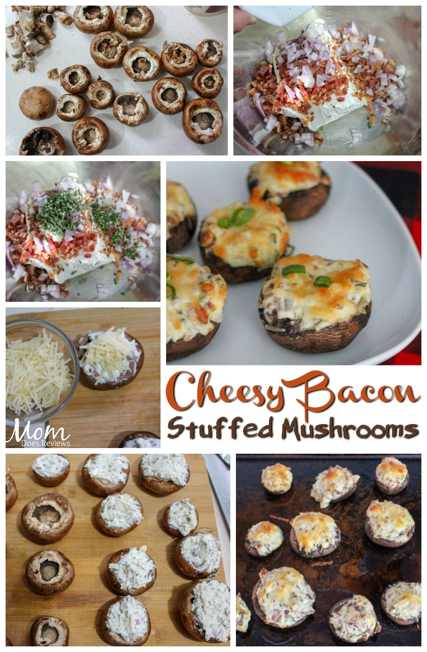 cheesy bacon stuffed mushrooms #recipes #appetizers #bacon #cheese