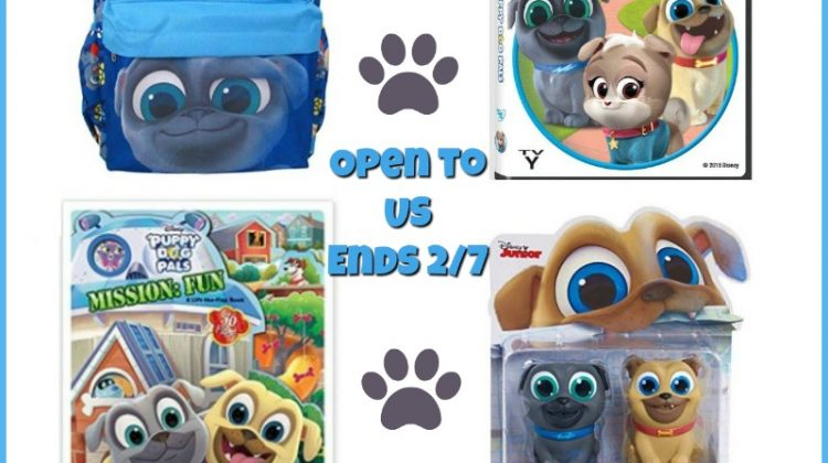 #win the Puppy Dog Pals DVD, Bath Squirters, Board Book and Mini Backpack!
