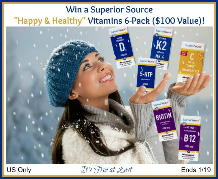 "#Win Superior Source ""Happy & Healthy"" Vitamins 6-Pack ($100 Value) US ends 1/19  #SuperiorSource"