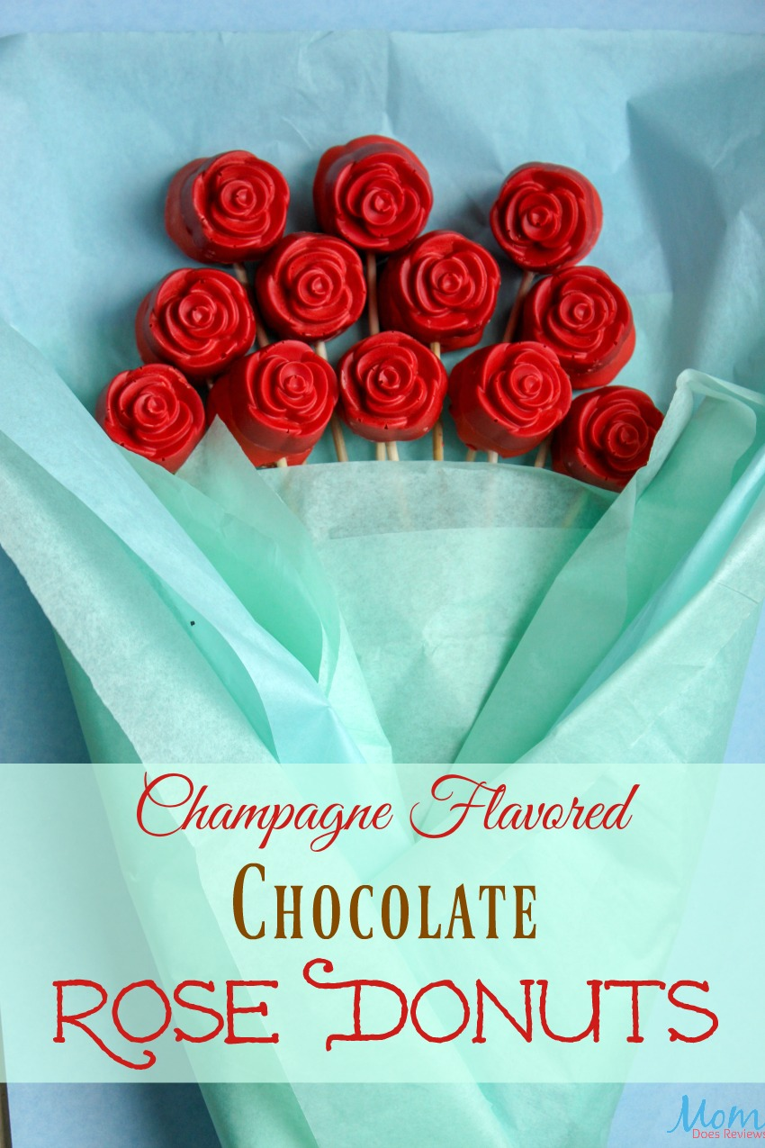 Champagne Flavored Chocolate Rose Donuts #recipe #desserts #roses #prettyfood #flowers