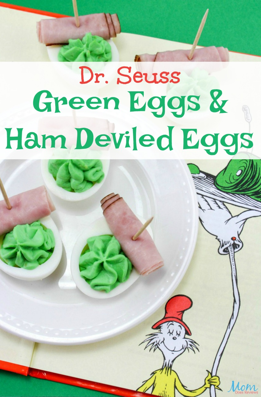 Dr. Seuss Green Eggs & Ham Deviled Eggs are Perfect for a Party! #DrSeuss #recipe #greeneggsandham #funfood