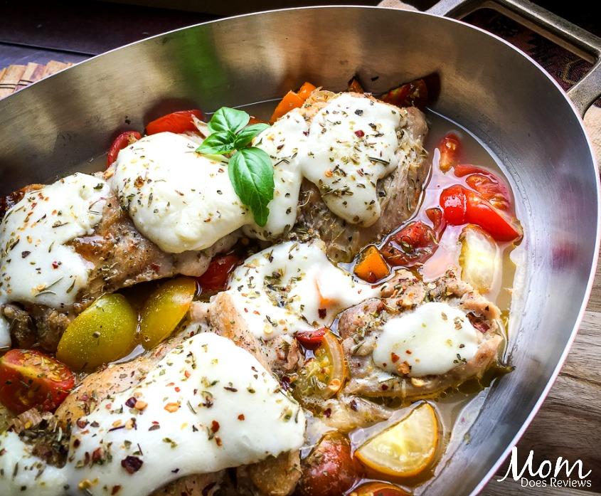 One-Skillet Mozzarella Chicken Thighs- Easy #Keto Recipe!